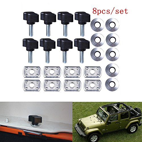 Universal Hard Top Quick Removal Fastener Thumb Screw and Nut Kit for 1995-2016 Jeep Wrangler YJ TJ JK JKU Sports Sahara Freedom Rubicon X & Unlimited X 2 Door 4 Door (Black) (Jeep Wrangler Unlimited Hardtop)