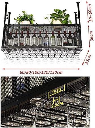 JBNJV Organización de Almacenamiento de Cocina Estantes para Vino de Techo de Estilo Vintage | Portabotellas de Vino de Altura Ajustable de Hierro metálico | Estante de exhibición de decoración de