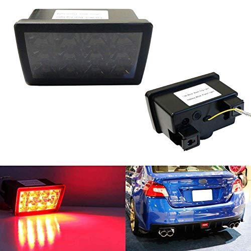 iJDMTOY Dark Smoked Lens F1 Style LED Rear Foglamp Kit For 11-up Subaru WRX/STi Impreza XV Crosstrek, Strobe Flashing Feature w/ Wiring Harness & Mounting Bracket ()