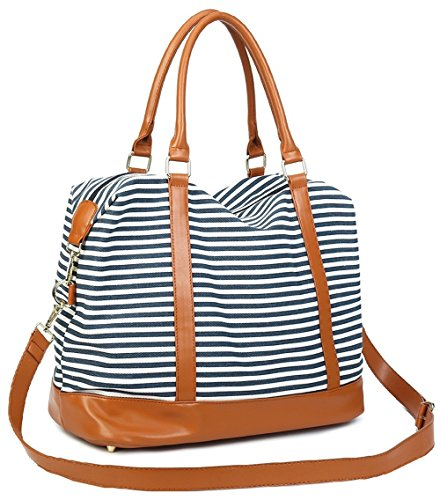 CAMTOP Women Ladies Weekender Travel Bag Canvas Overnight Carry-on Duffel Tote Luggage (Blue) by CAMTOP (Image #1)