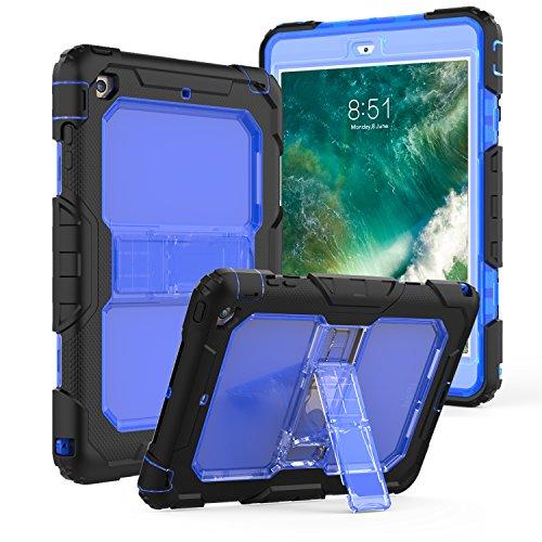 Translucent Blue Silicone Skin Case - NQG iPad Mini Case, iPad Mini 3/2 / 1 Case, Shockproof Defender Three Layer Kickstand Translucent Back Tablet Case Cover with Adjustable Shoulder Strap for iPad Mini 3 -Blue
