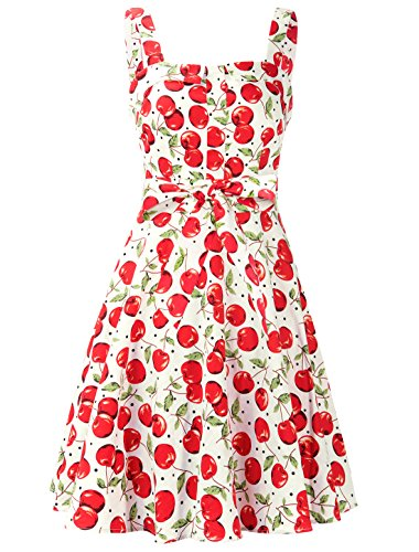 InsNova Women's Floral Ruched Sweetheart Neck Sleeveless Tea Party A-Line Dress (Medium, Red Floral)