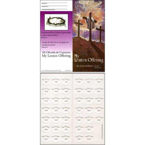 Folders Lenten Coin - Sterling Gifts Lent Crosses Quarter Coin Folders for Churches Fundraising Holds $10.00 - Pkg of 50 Folders Spanish English