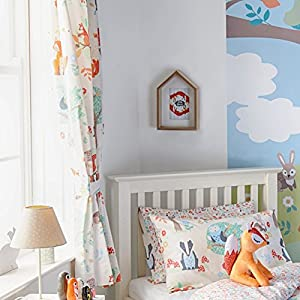 Woodland Animals Pencil Pleat Curtains And Matching Tiebacks 66 X 72 Fully  Lined Ready Made Kids Fox Squirrel, Cream