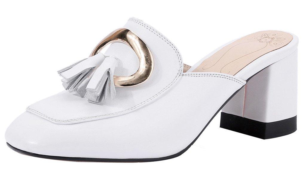 Calaier Mujer Cahousework Bloquear 6.5CM Cuero Ponerse Zuecos Zapatos 35.5 EU|Blanco