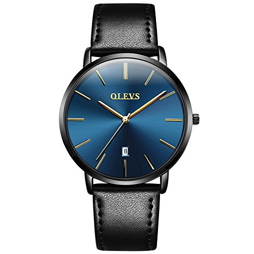 OLEVS Men's Ultra Thin Alloy Watches Quartz Analog Calendar Date Window Business Casual Slim Wristwatch Waterproof 30M 3ATM Blue Dial Black Genuine Cowhide Leather Band Simple Classic YPF