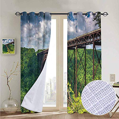 NUOMANAN Bathroom Curtains USA,Canyon Rim Visitor Center Photo,Room Darkening Waterproof Curtains for Bathroom 52
