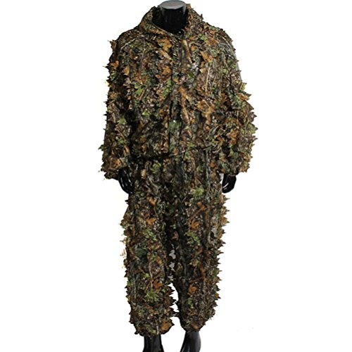 Review VORCOOL Camo Suit Leaf Camouflage Woodland Suit Set 3D Jungle Forest Hunting Lightweight