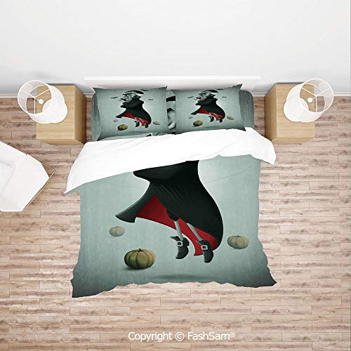 FashSam Duvet Cover 4 Pcs Comforter Cover Set Creepy Halloween Night Pumpkins and Old Vampire with Cape Flying Bats for Boys Grils Kids(Queen)]()