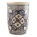 Utensil Holder Utensil Crock Utensil Organizer Caddy Ceramic Large STURDY Hand Crafted and Hand Painted Blue and white North African Design.