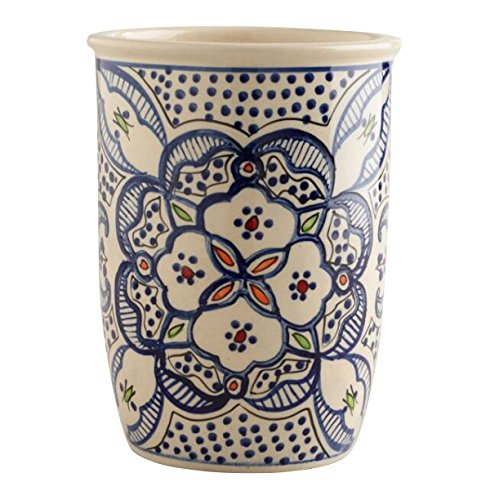 Utensil Holder Utensil Crock Utensil Organizer Caddy Ceramic Large STURDY Hand Crafted and Hand Painted Blue and white North African Design. by wm