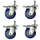 "Service Caster SCC-TSTTL20S414-PPUB-381615-BLUE-4 Total Lock Caster, Blue Polyurethane Wheel, 3/8""- 16 x 1-1/2"" Threaded Stem, 4"" Size (Pack of 4)"