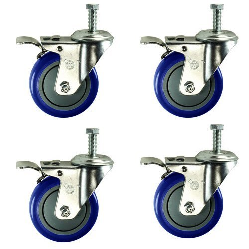 Service Caster SCC-TSTTL20S414-PPUB-381615-BLUE-4 Total Lock Caster, Blue Polyurethane Wheel, 3/8