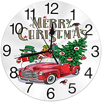 KiuLoam Christmas Red Retro Truck with Fir Tree Snowman Round Wall Clock Silent Non Ticking Battery Operated Easy to Read for Student Office School Home Decorative Clock Art