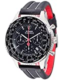 DETOMASO Firenze XXL Men's Watch Chronograph Analog Quartz Black Leather Strap Black Dial DT1045-A