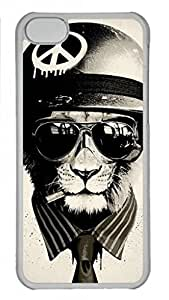 Transparent Hard Plastic Case for iPhone 5C,Cool Lion Case Back Cover for iPhone 5C
