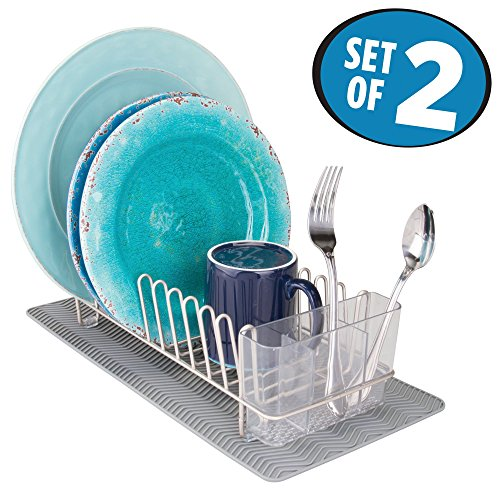 mDesign Compact Kitchen Countertop, Sink Dish Drying Rack and Silicone Drying Mat – Drain and Dry Wine Glasses, Bowls and Dishes - Set of 2, Wire Drainer in Satin with Gray Heat-Safe Mat