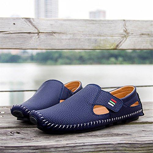 Driving On Hole Casual maschili Shoes pelle Slip Men uomo Primavera mocassini in With Breath Scarpa estate Blue xvqHT0w4a