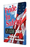 Accuform Digi-Day 3 Electronic Safety Scoreboard,''PRIDE IN SAFETY! - #### DAYS WITHOUT A LOST TIME ACCIDENT'' with USA Flag Graphic (SCK108)