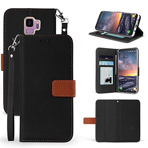 Galaxy S9 Case, Beyond Cell Faux Leather Hybrid Flip Wallet Cover With Phone Strap Card Slots Magnetic Flap Closure - Black from Beyond Cell
