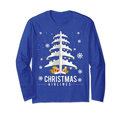 Unisex Airplane Christmas Tree Airlines Xmas Decoration Long Sleeve Large Royal Blue