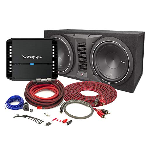 Rockford Fosgate Punch P300X1 Mono subwoofer Amplifier with Punch P1 ported Enclosure with 12″ subwoofers and 4 Gauge Amplifier Power Wiring Kit and RCA Wire Bundle