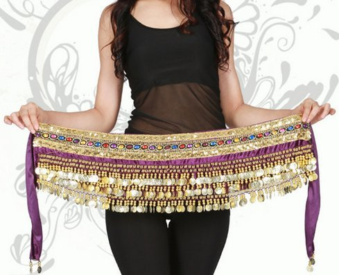 Orino™ Women Belly Dance Dancing Hip Scarf Wrap Costumes Golden 248 Coins Belt Velvet Skirt with Two Gold Lines ()