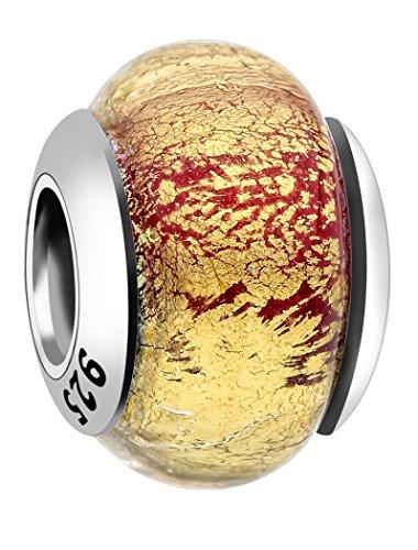 Nenalina 802038–4 et verre de murano rouge/or-perle en argent 925 pour bracelets pandora, compatible 717201–015