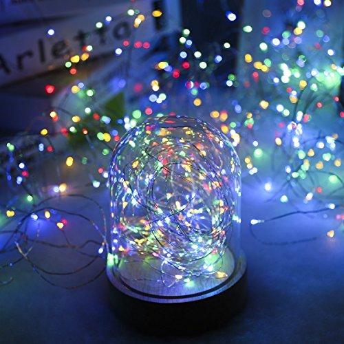 Progreen Cadena de Luces, 10m 100 Multicolor LED, Alambre de Cobre Impermeable, con Control Remoto, 8 Modos de Luz para DIY, Navidad, Boda, ...