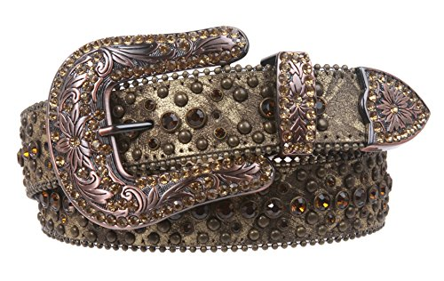 Style Rhinestone Belt - Snap On Rhinestone and Gun Metal Color Circle Studded Leather Belt, Gold Topaz | L/XL - 39