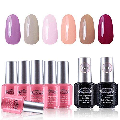 Perfect Summer UV/LED Soak Off Gel Nail Polish 6 Colors - with Base Coat and Top Coat Gel Polish Set, 8ml Each #05