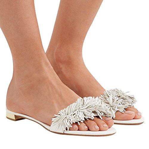 Comfity Fringed Mules For Women, Tassel Backless Slides Slip On Dress Slippers White
