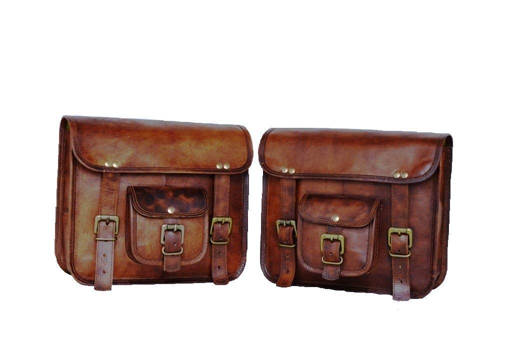 Motorcycle Side Pouch Brown Leather Side Pouch Saddlebags Saddle Panniers 2Bag by CrazyLeather