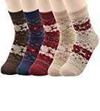 3-5 Pack Casual Warm Thick Knit Multistyle Outdoor Comfy Wool Blend Crew Socks For Womens Girls