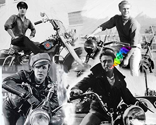 - 3D Wall Art 11 x 14 On Metal Motorcycle Mayhem James Dean Elvis Presley Steve McQueen Marlon Brando Oil Painting by Peter Nowell