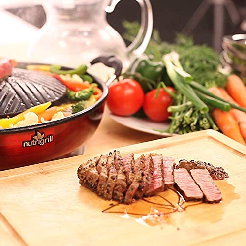 NutriGrill Electric Grill and Steamer: Healthy Smokeless Cooking BBQ Grill with Accessories, Portable Mini Grill with Nonstick Ceramic Surface and Steamer by Nutrigrill (Image #5)