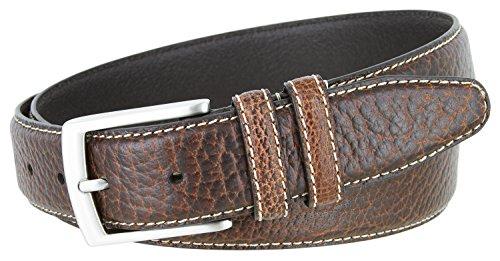 Belts.com Genuine Bison Leather Dress Belt-Brown 1-3/8