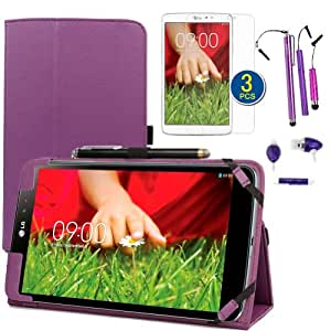BIRUGEAR Purple SlimBook Leather Folio Stand Case w/ Stylus, Headset, Screen Protector for LG G Pad 8.3 - 8.3 inch Android Tablet