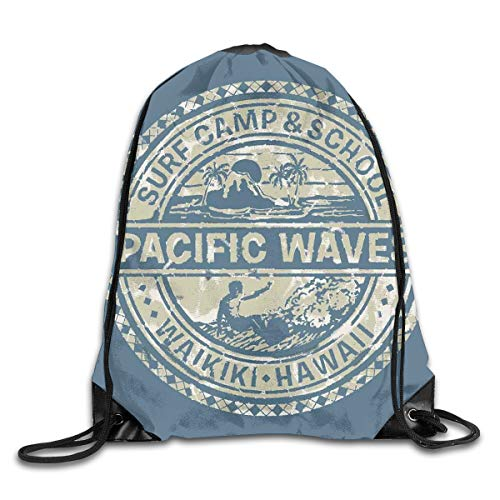 Unisex Drawstring Bag Gym Bags Storage Backpack,Pacific Waves Surf Camp School Hawaii Logo Motif Artsy Effects Design (Waves Surf Camp)