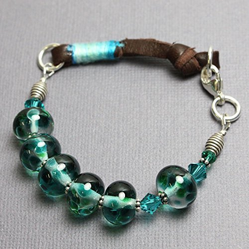 Blue Green Lampwork Glass Bead Bracelet with Leather-7.5