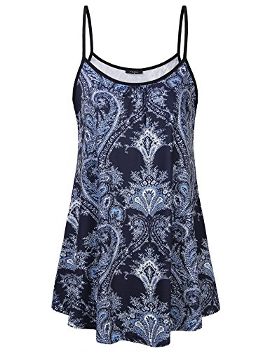,VALOLIA Nursing Tops Elegant Vintage Spaghetti Strap Top Paisley Floral Printed Scoop Neck Blouses Fashion 2018(Multiple Blue,X-Large) (Maternity Printed Scoop Neck Top)