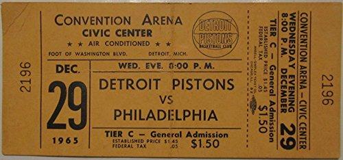 DETROIT PISTONS vs. PHILADELPHIA 76er's DEC 29 1965 TICKET WILT CHAMBERLAIN (Wilt Chamberlain Sign)
