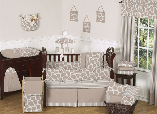 Modern Animal Giraffe Print Neutral Baby Boy Girl Unisex Bedding 9 pc Crib Set by JoJO Designs, Baby & Kids Zone