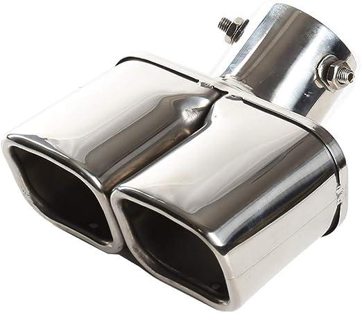Auspuffspitzen Auspuff Edelstahl 63mm Auto Auspuff Endrohr Doppel Auslass Vierkantmundrohr Silber Auto