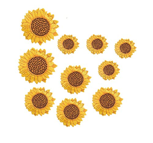 Yalulu 10Pcs Sunflower Embroidered Patches Embroidered Sticker Flower Iron On Applique Patch for Backpack and Jackets