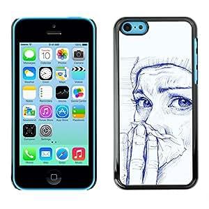 For Apple iPhone 5C Case , Painting Girl Cold Winter Painting Art - Diseño Patrón Teléfono Caso Cubierta Case Bumper Duro Protección Case Cover Funda