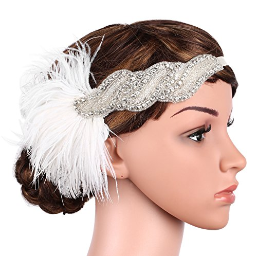 Hairstyles From The 20s (BABEYOND 1920s Flapper Headband Great Gatsby Headpiece 20s White Feather Headband 1920s Flapper Gatsby Accessories)