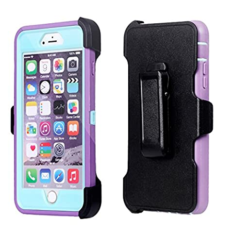 For iPhone 6Plus, Chanroy Hybrid Rubber Plastic Impact Defender Rugged Hard Case ,iPhone 6Plus /6S Plus (5.5 inch)Protective Case, Screen Protector Built-in ,With Belt Clip Holster(Purple+Teal)