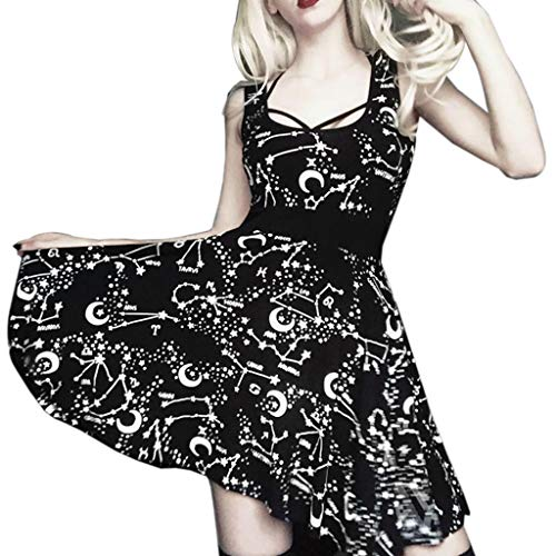 (Womens Gothic Vintage Punk Dress Sleeveless Pentagram Pleated Black Cosplay Fancy Dress up)