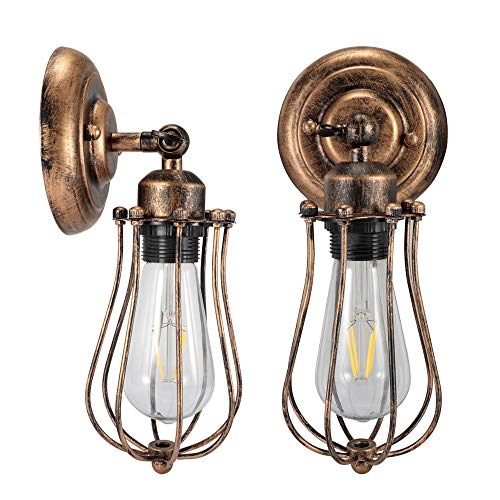 Wire Cage Wall Sconce Docean Adjustable Industrial Metal Wall Lamp Headboard Light Fixture, Vintage Style for Home Decor Bathroom Bedroom Farmhouse Porch Garage(2 Pack)